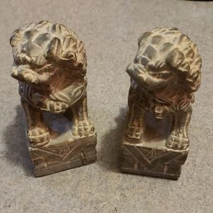 Pair of Small Pier One Cement Lion Bookends